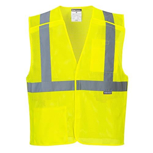 Portwest US384YERXL Economy Mesh Break-Away Safety Vest, XL, Yellow
