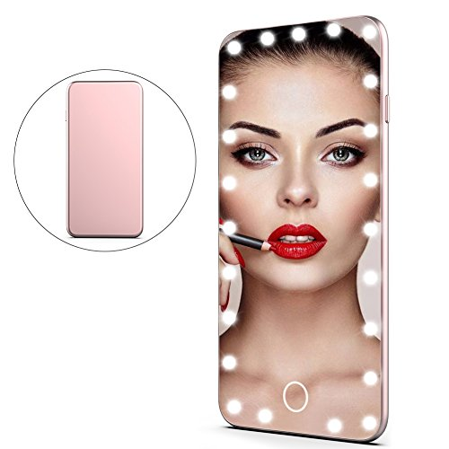 Smart Touch LED Lighted Cosmetic Vanity Mirror, Rechargeable 23 LEDs Dimmable 6.3 Inch Portable Travel Makeup Lamp Mirrors With Protect Sheath (Rose Gold)