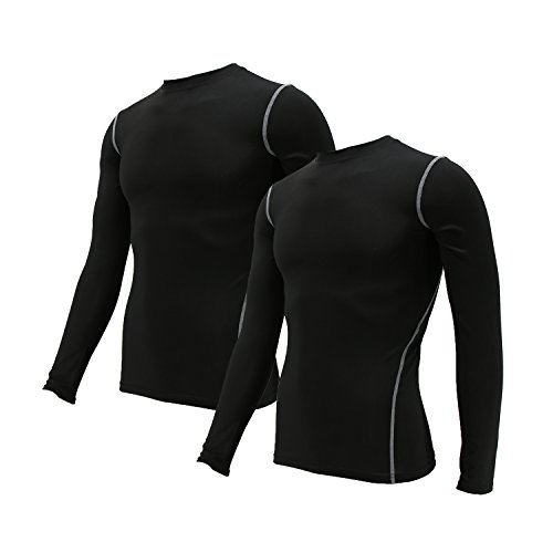Minghe Men's Compression Long Sleeve Baselayer Crewneck Dry Fit T-Shirt(2-3 Pack)