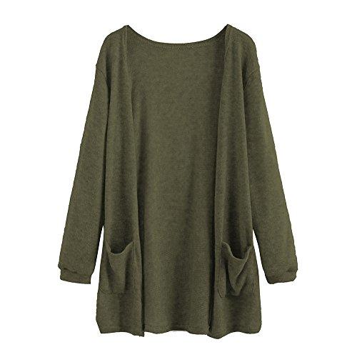 WEUIE Women Outwear Hot Sale! Women Autumn Long Sleeve Tops Blouse Loose Long Cardigan Coat Jacket Outwear (L,Green)