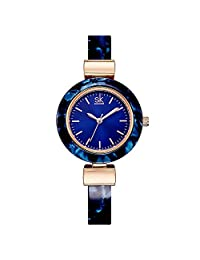 SHENGKE SK K0070L Fashion Women's Watches Dress Watches for Ladies with Unique Bangle (blue)