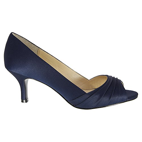 YS Classic Womens Pumps Navy Open Nina Toe Fabric Carolyn New 1ScAWqwg