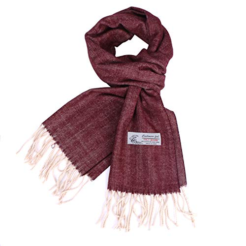 Herringbone Pattern Cashmere Feel Classic Soft Luxurious Winter Wrap Scarf For Men Women (Herringbone Red)