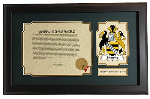- Merritt - Coat of Arms and Last Name History, 14x22 Inches Matted and Framed