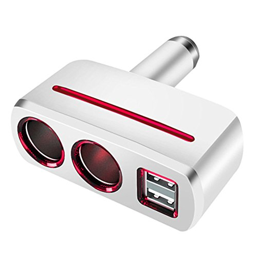 Multi Socket Auto Car Cigarette Lighter Splitter Dual USB Car Charger Adapter with 2 Socket Cigarette Lighter Adapter for iPhone 5, 6, 6 Plus, 7,iPad,Samsung Galaxy Note, HTC, Nexus and More (White) (White Cloud Electronic Cigarette)