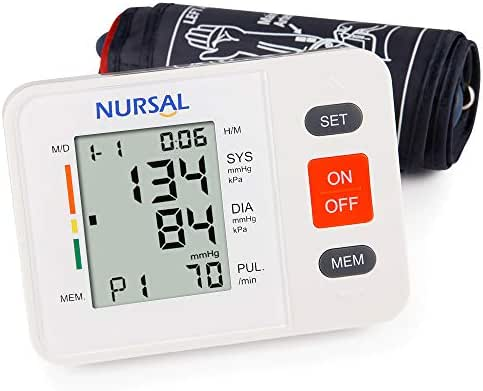 NURSAL Upper Arm Digital Blood Pressure Monitor Automatic Blood Pressure Machine for Home Use with Cuff 22-42cm, Large LCD Screen, 2 Users 180 Readings - FDA Approved