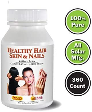 Andrew Lessman Healthy Hair, Skin & Nails 360 Count – 4000 mcg High Bioactivity Biotin, MSM, Full B-Complex Promotes Beautiful Hair, Skin and Strong Nails - No Additives. Easy to Swallow Capsules