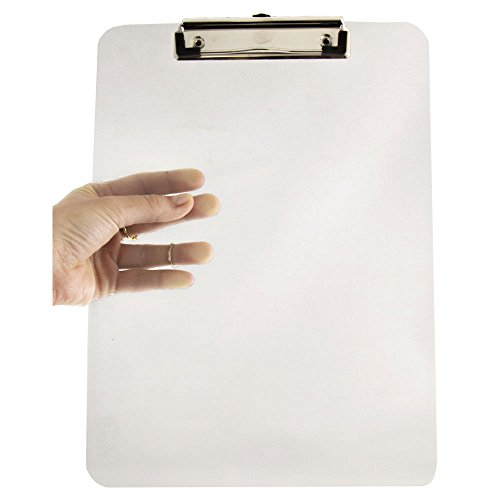 JAM PAPER Plastic Clipboards with Low Profile Metal Clip - Letter Size (9 x 12.5) - Clear - Clip Board Sold - Clear Clipboard Office