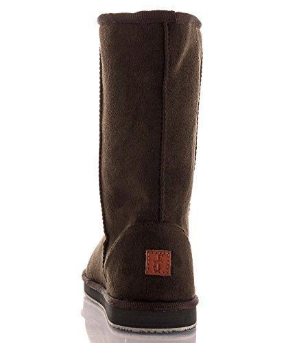 Faux Toe FASHION Lug Winter Slip OF Boots Round Chocolate 2017 ROOM On Long Fur Mid RF Eskimo Calf Sole Fur 21 Vegan Suede w6YqnEA