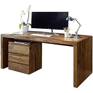 Wohnling escritorio de madera sheesham ordenador mesa 120 for Escritorios rusticos para oficina