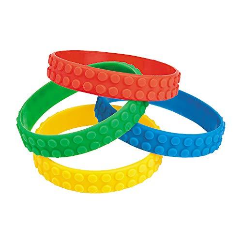 Fun Express Color Brick Building Block Party Favor Bracelets - 12 ct -