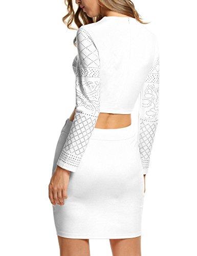 Aderente Femminile Clubwear Bianco Paillettes Style2 Fasciatura Vestito Beyove Partito 0qIwUOOn