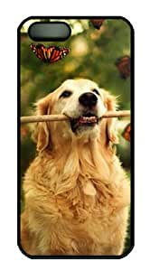Sakuraelieechyan Funny Dog Hard Shell Black Sides Cover Case for Iphone5 and Iphone5S