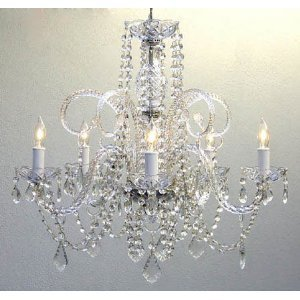 """Swarovski Crystal Trimmed Chandelier! Empire Victorian Chandelier H25"""" X W24"""" Swag Plug In-Chandelier W/ 14' Feet Of Hanging Chain And Wire!"""