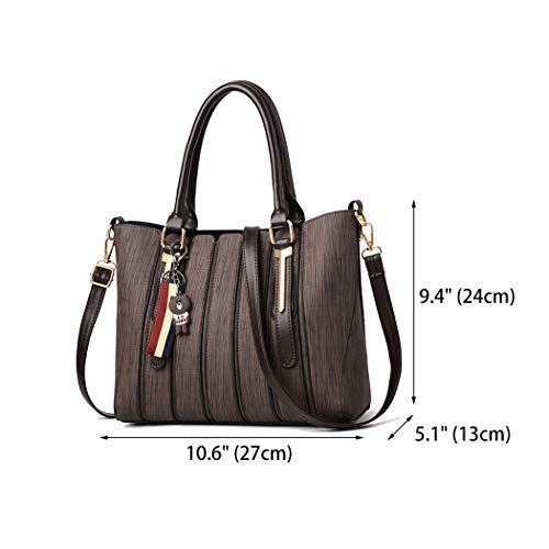Leather Shoulder Faux Bags Coffee Body Women's Handle Handbags Cross Bags Top Bags FqInOfA