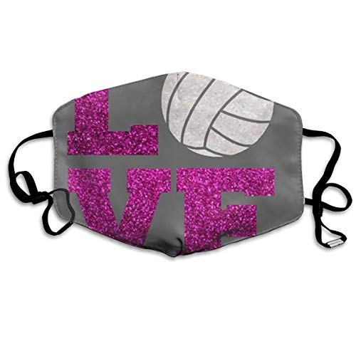 (FYVUV Glitter Volleyball Love Anti Dust Face Mouth Cover Mask Respirator - Dustproof Anti-Bacterial Washable - Reusable Masks Respirator Windproof Mask)