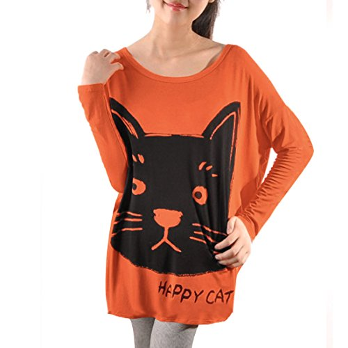 Allegra K Women Batwing Sleeve Loose Cat T Shirts Casual Oversize Tops 41ahnveoWAL