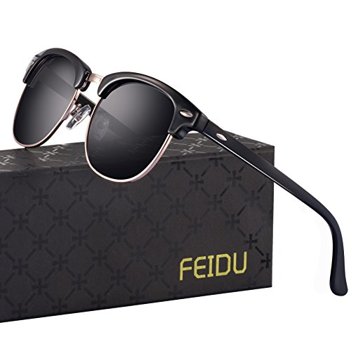 Retro Clubmaster Sunglasses for Men - FEIDU Half Metal Polarized Sunglasses for Women FD3030 (A-black/bright, (Clubmaster Style Sunglasses)