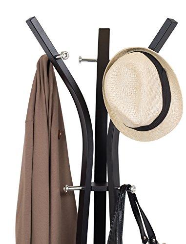 Internet's Best Standing Coat and Hat Rack | 9 Hooks | Modern Umbrella Scarf Purse Stand | Wooden Black Finish