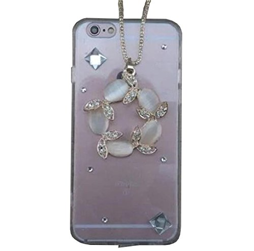 iPhone 5/5S Noble Shell, OMORRO Newest Charm Manual Shiny Glitter Crystal Diamonds Gem Unique Clear Neck Sling Protective Cover Case for Apple iPhone 5/5S Luck Wreath