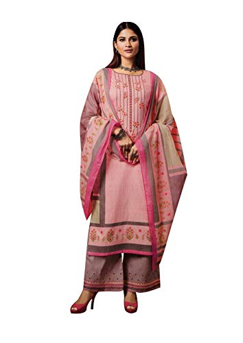 Ladyline Cotton Embroidered Salwar Kameez with Cotton Dupatta Palazzo Pants Indian Pakistani Salwar Suit (Size_46/ Pink) ()