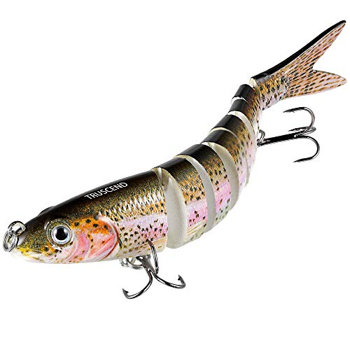 - TRUSCEND Fishing Bass Lures Multi Jointed Topwater Life-Like Trout Swimbait Hard CrankBaits (S-8-rainbow)