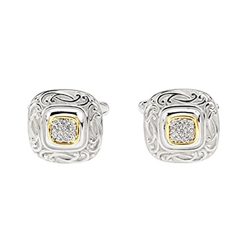 14K Yellow Gold and Sterling Silver 1/4 ct. Diamond Men's Cuff Link - Yellow Gold Diamond Cufflinks