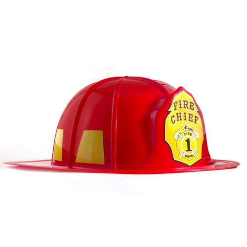 HMS Fireman Hat Adult Sized Hard Plastic, Red, One Size]()