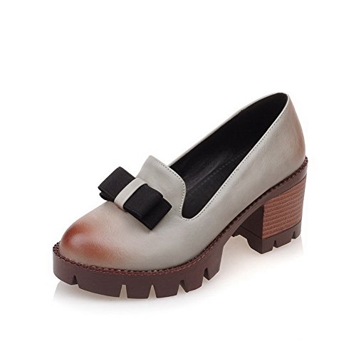 Amoonyfashion Mujeres Kitten-heels Soft Material Solid Pull-on Round Closed Toe Bombas-zapatos Gris