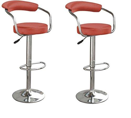 Yopih-negro-y-Bar-Kitchen-giratorio-de-cromo-taburete-alto-silla-rojo-juego-de-2