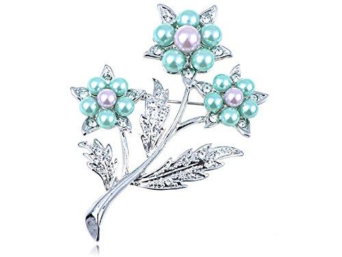Alilang Swarovski Crystal Elements Green Lavender Faux Pearl 3 Stem Flower Pin Brooch ()