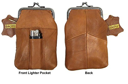 Snap Top Genuine Soft Leather Cigarette Case 2pc for $10.99 BLACK + (Frame Cigarette Case)
