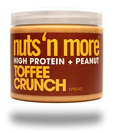 Nuts 'N More Toffee Crunch Peanut Spread, Keto, High Protein Nut Butter Snack, Low Carb, Low Sugar, Gluten-Free, All Natural, 16 oz Jar