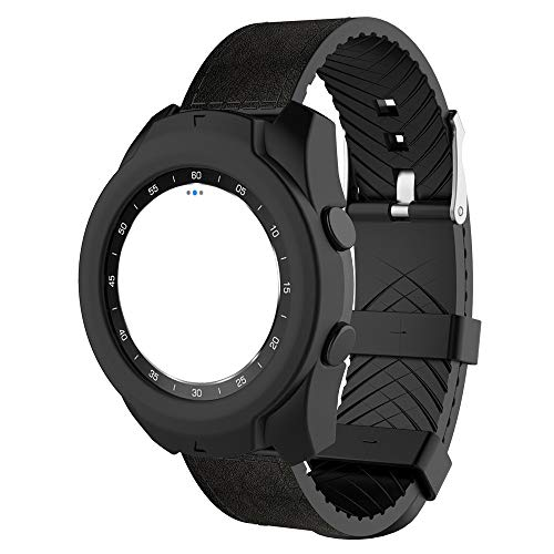 YaidaComfortable Soft TPU Protection Silicone Full Case Cover for Ticwatch Pro Watch (Black) ()