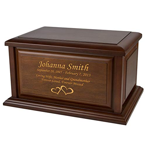 Perfect Memorials Custom Engraved Extra Large Traditional Walnut Wood Urn ()