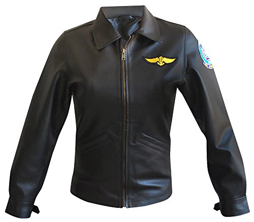 Womens Logo Badges Brown Bomber Leather Jacket Air Force Pilot Top Gun Coat ()