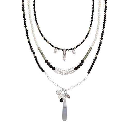 - Silpada 'Neutral Territory' Natural Agate, Bone, Howlite, Pyrite Multi-Strand Necklace in Sterling Silver