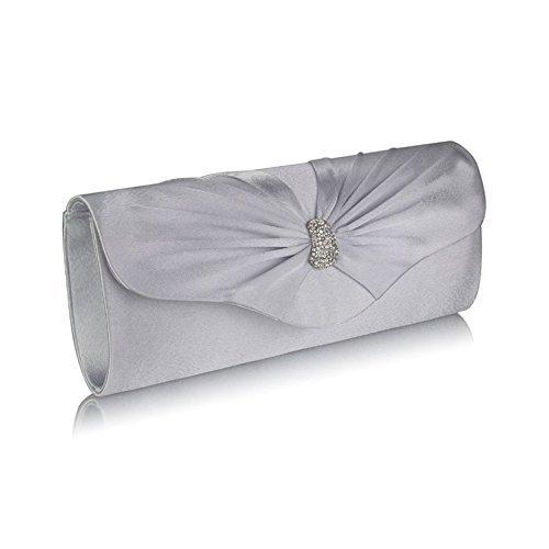 TrendStar - Cartera de mano de satén para mujer Small Silver Ruched Clutch