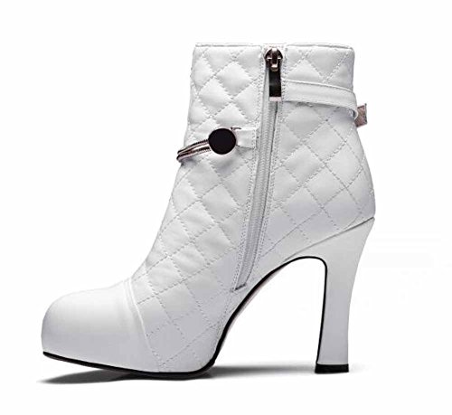 Waterproof Belt Winter Boots Ankle Heel High Boots Fashion Women New Pumps Leather White Autumn Platform Buckle Short gIfqxIPwY5