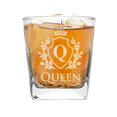 My Personal Memories King and Queen Stemless Wine Glasses, Pint Beer Glass, Whiskey Rocks Glassware Set for Bridal Shower Gift, Wedding, Anniversary, and Couples (Square Rocks Glass 9oz, Knight Queen)
