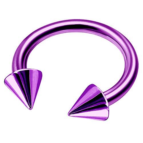 (Purple Titanium 14 Gauge 1/2 12mm Horseshoe Nose Ring Piercing Jewelry Eyebrow Helix Cartilage Septum Daith 5mm Cone M5229)