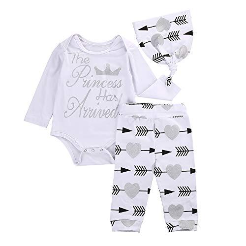 3Pcs Infant Baby Girls Outfit Letter Print Romper Bodysuit+Pant +Hat Clothes Set White
