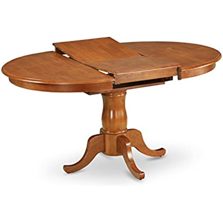 East West Furniture POT SBR TP Oval Dining Table With 18 Inch Extension Butterfly Leaf Saddle Brown Finish