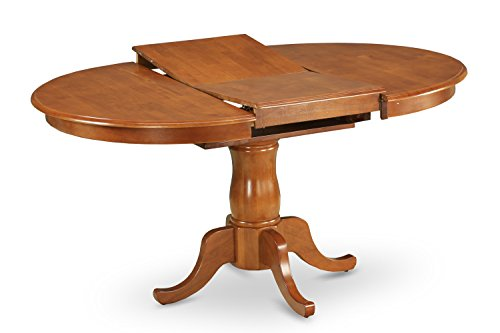 East West Furniture POT-SBR-TP Oval Dining Table with 18-Inch Extension Butterfly Leaf, Saddle Brown Finish