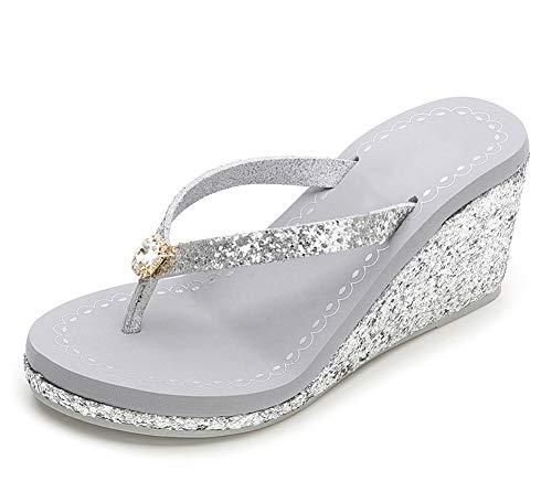 Hanxue Womens Glitter Chunky Wedge Flip-Flops Sandals-Grey Rinestone04-US8