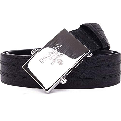 (Prada Saffiano 1 Black Leather Belt 2CM009 Size: 105/42)