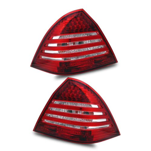 SPPC L.E.D Taillights Red/Clear Assembly with Crystal Lens For Mercedes Benz C Class W203 - (Pair) Includes Driver Left and Passenger Right Side