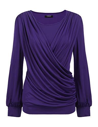 Zeagoo Women's Short Sleeve Crewneck Front Pleated Dressy Tunic Tops,X-Large,Purple_1