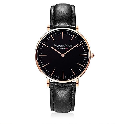 VICTORIA HYDE Classic Unisex Quartz Watch for Men and Women Waterproof Leather Strap Black Grey