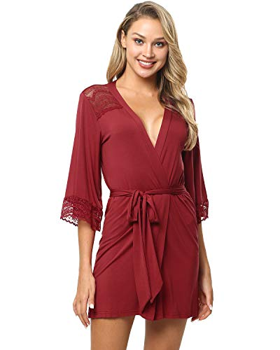 ENIDMIL Women Kimono Robes Cotton Lightweight Robe Short Knit Bathrobe Soft Sleepwear Ladies Longewear(M, Red)